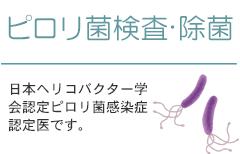 ピロリ菌検査・除菌 日本ヘリコバクター学会認定ピロリ菌感染症認定医です。